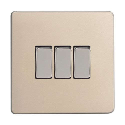 Varilight XDN3S Screwless Satin Chrome 3 Gang 10A 1 or 2 Way Rocker Light Switch
